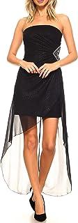 93e9b3518 Teeze Me Juniors Strapless Glitter Embellished Cutout Side High-Low Dress