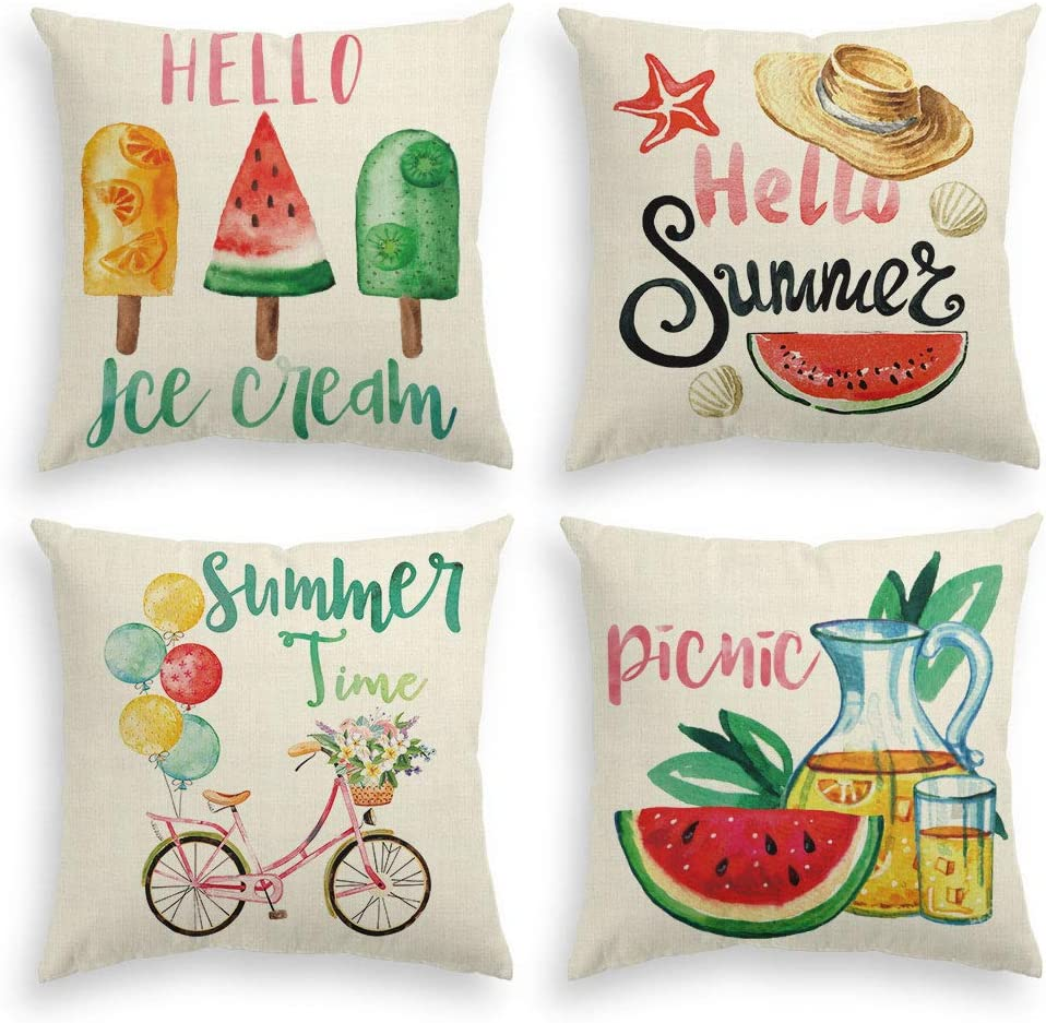 AVOIN Watercolor Hello Summer Fruits Pillow Throw supreme Max 59% OFF Cover Popsicle