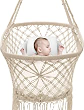 Sorbus Baby Crib Cradle, Hanging Bassinet and Portable Swing for Baby Nursery, Macramé Rope Fringe Measures 35