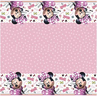 """Disney Iconic Minnie Mouse Rectangular Plastic Party Table Cover, 54"""" x 84"""""""