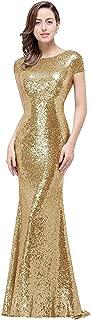 Women Sequins Prom Bridesmaid Dress Glitter Rose Gold Long Evening Gowns Formal