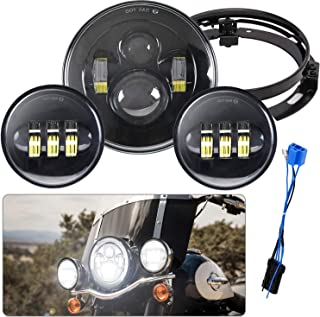 7' LED Headlight with 4-1/2 LED Passing Lamps + Mounting Bracket Ring + 4.5' Fog Light for Road King, Road Glide, Street Glide and Electra Glide (Black)