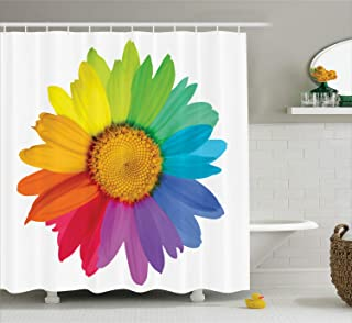 DIY Flower Decor Shower Curtain Set, Rainbow Colored Sunflower or Daisy Spring Inspired Image Hippie Style Print Modern Home Decor, 72 x 72 Inches Rainbow Colors