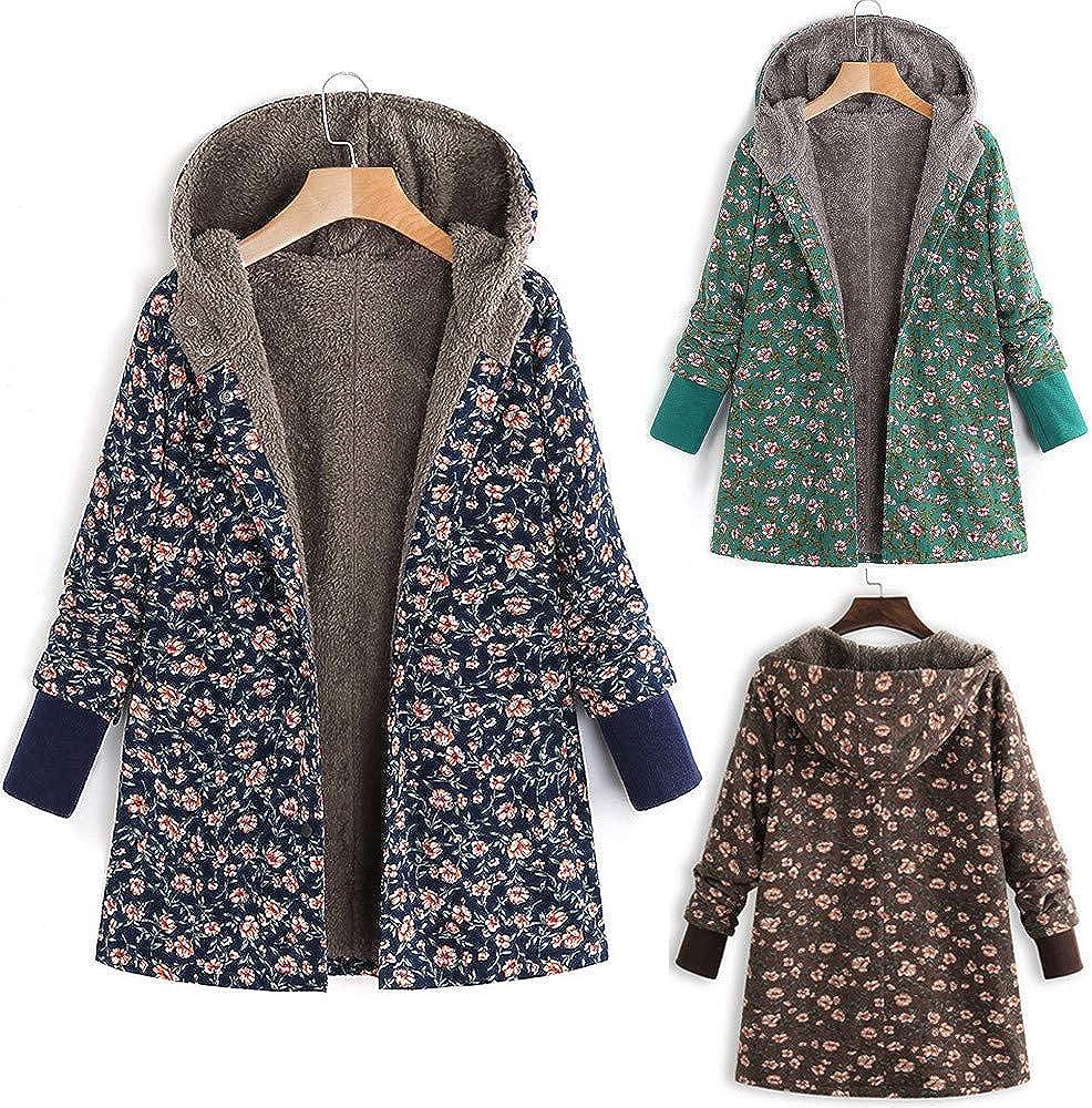 Frauen Strickjacke Jacke Mantel Winter Warm Outwear Blumendruck Kapuzen Taschen Vintage Oversizes 08 Marine