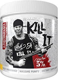 Rich Piana 5% Nutrition KILL IT Pre Workout Drink Powder w/ Creatine, Jitter-Free Caffeine, NO-Booster, Beta Alanine for F...