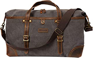 ORIENTAL GLORY Overnight Canvas And Leather Duffel Bags for Men,Men's Travel Bags Weekender Carry On Handbag (grey)