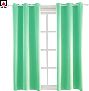 BEGOODTEX Inherent Flame Retardant Fire Resistant Blackout Curtains for Room School Hospital Office, Mint Green, 42W by 84L inch, 1 Panel