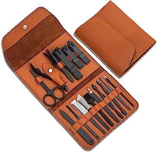 هدایا برای آقایان / خانمها ، مجموعه مانیکور استیل ضد زنگ با کیف چرمی ، ابزار مراقبت شخصی (قهوه ای)