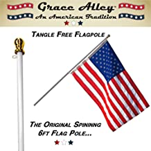 Grace Alley Flag Pole: 6 Foot Tangle Free Spinning Flag Pole. Residential or Commercial Flag Pole. Wind Resistant/Rust Free. (White)