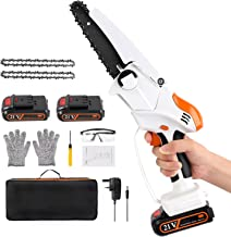 Sponsored Ad – Mini Chainsaw, 6 Inch Cordless 21V Battery Powered Chainsaw with 2 Battery, Portable Handheld Electric Prun...