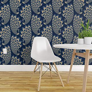 Spoonflower Peel and Stick Removable Wallpaper, Peacock Blue Golden Art Deco Gold Nouveau Large Scale Elegant Feathers Print, Self-Adhesive Wallpaper 12in x 24in Test Swatch