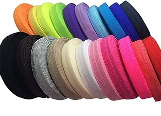 JESEP 100 Yards Fold Over Elastic 5/8'' 15mm Stretch Foldover FOE Elastics Ribbon for Headbands Baby Girl Head Bow JSP08
