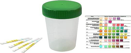auslaufsicherer und gefriertauglicher Urinprobenbecher mit Schraubdeckel 125 ml Fassungsverm/ögen bis 100 ml graduiert Urinbecher Premium Gr/ün 100 St/ück mattiertes Schriftfeld auf dem Becher