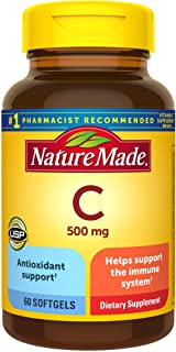Nature Made Vitamin C 500 mg Softgels, 60 Count to Help Support the Immune System† (Pack of 3)