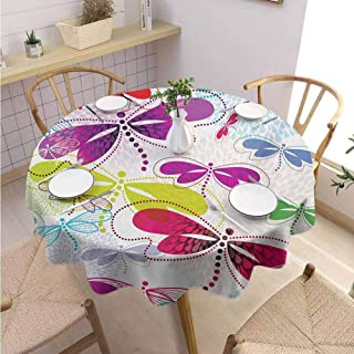 DILITECK Dragonfly Pad Round Tablecloth Modern Dragonfly and Floral Pattern Hydrangea Petals Like Fireworks Colorful Art Fabric Tablecloth Diameter 54