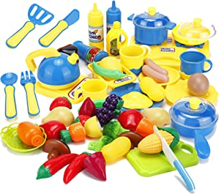 Kitchen Cooking Toys Cutting Fruits Vegetables Pretend Play Food Playset with Stove, Pots and Pans Set Cookware Utensils Accessories for Kids Toddlers Girls Boys Gifts Learning Educational 46pcs