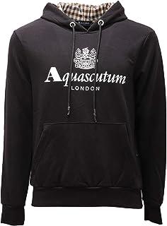 Aquascutum 2619AE Felpa Cappuccio Uomo Black Cotton Sweatshirt Man