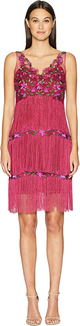 V-Neck Embroidered Fringe Cocktail