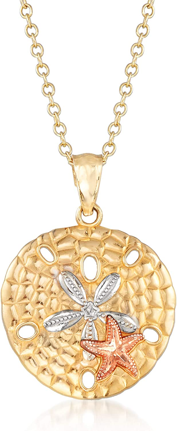 Ross-Simons 14kt Tri-Colored Gold Sand Dollar and Starfish Pendant Necklace