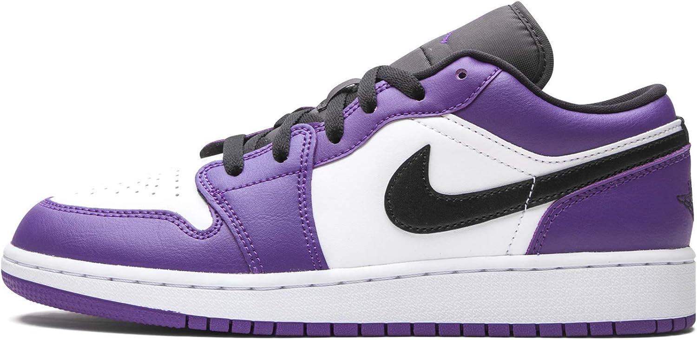 Jordan Youth Air 1 Low Gs Black-Wh 贈物 まとめ買い特価 Purple - Court