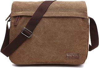 SUPA MODERN Leinwand Messenger Bag Umhängetasche Laptop Tasche Computer Tasche Umhängetasche aus Segeltuch Tasche Arbeiten Tasche Umhängetasche für Männer und Frauen, Herren, Coffee Large