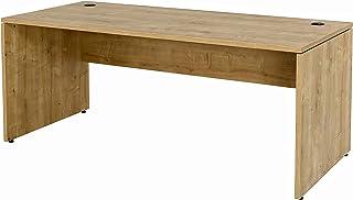 Furni24 Schreibtisch fürs Arbeitszimmer und Home Office - Großer laminierter Computertisch aus Holz, 2 Kabeldurchlässe, Bo...