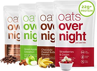Oats Overnight - Variety Pack (24 Pack) High Protein, Low Sugar Breakfast - Gluten Free, High Fiber, Non GMO Oatmeal (2.7o...