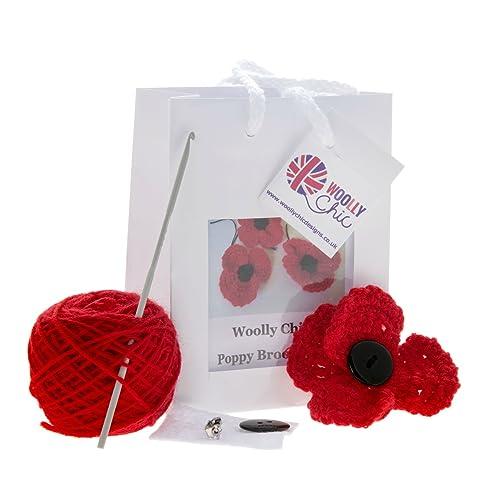 Woolly Chic Crochet Poppy Brooch kit