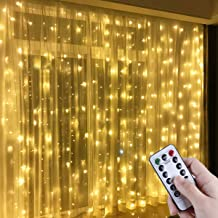 Anpro Window Curtain String Light, 300 LED Warm White Window Fairy String Lights with 8 Modes, 3m x 3m 8 Modes USB Powered LED Curtain Lights for Christmas, Party, Wedding, Bedroom Decoration