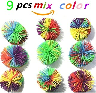 AFUNNY Pack of 9pcs Mix Color Monkey Stringy Balls, Size of 7cm /3 inches Stringy Play Ball, Sensory Fidget Toys, Stress Balls with Rainbow Pom Ball, Koosh Ball Colorful Bouncy Ball