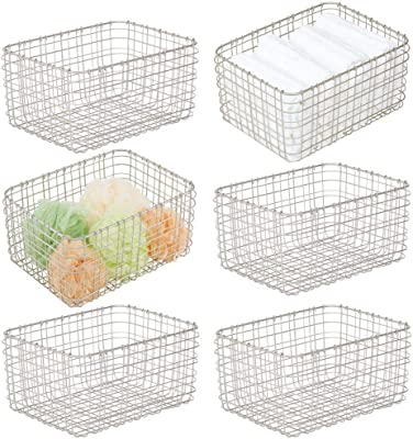 "mDesign Farmhouse Metal Bathroom Storage Organizer Bin Basket for Vanity, Towels, Cabinets, Shelves - Holds Sponges, Make-Up, Shampoo, Conditioner, Cosmetics, Hand Towels, 12"" x 9"" - 6 Pack - Satin"