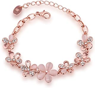 Yellow Chimes Moxie Collection Classic Opal 18K Rose Gold Bracelet Bangle for Girls and Women. (MXFJBR-160OPL-PK)