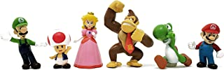 WAREHOUSEDEALS Inspired by Mario Brothers 1 Set of 6 Mini Party Figures , Peach, Toad, Luigi, Yoshi Donkey Kong (1.5