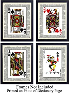Upcycled Dictionary Wall Art Prints - Set of Four (8X10) Vintage Unframed Photos - Perfect Gift for Poker or Card Players, Great Game Room, Bar, or Man Cave Decor