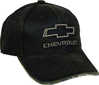 Outdoor Cap Men's Chevrolet Weathered Cap with Camo Under Visor, Brown/Realtree Edge, Chevy Hat