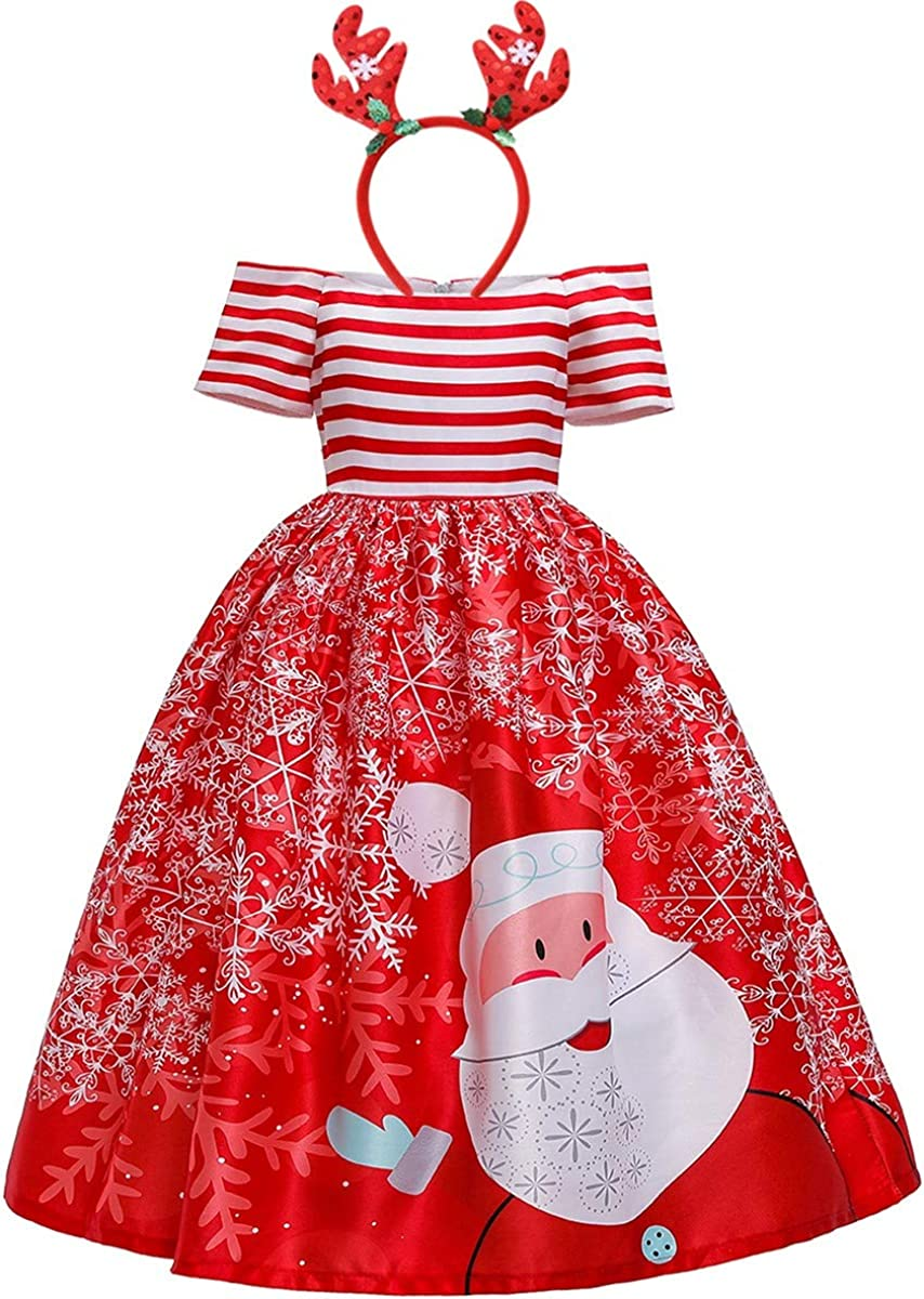 HIHCBF Girls Christmas Printed Dress w/Reindeer Headband Santa Claus Snowflakes Holiday Party Gowns Birthday Xmas Gifts