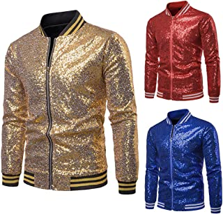 HUAZONG Mens Sequin Jacket Zip Up Baseball Varsity Bomber Sparkle Metallic Nightclub Disco Jacket