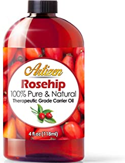 4oz Rosehip Oil by Artizen (100% Pure & Natural) - Cold Pressed & Harvested from Fresh Roses Bushes & Rose Seed - Rose Hip...