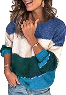 Angashion Women's Sweaters Casual Long Sleeve Crewneck Color Block Patchwork Pullover Knit Sweater Tops
