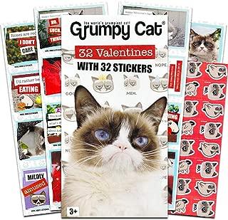 Grumpy Cat 32 Valentine with 32 Stickers