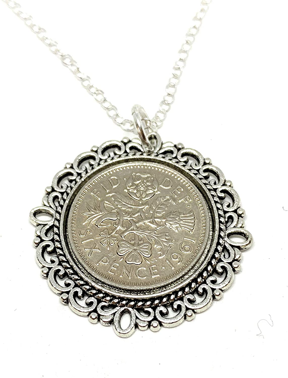 Max 46% OFF Fancy Pendant 1960 Lucky sixpence In a popularity Birthday 61st Sterling plus