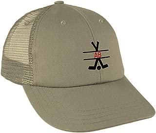 Custom Monogram Black Hockey Sticks Frame Low Crown Mesh Golf Snapback Hat