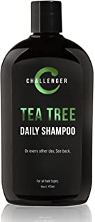 Challenger Men's Tea Tree Shampoo - 16oz Sulfate Free w/Vitamins, Argan Oil, Biotin - for Men & Women - Keratin, Vitamin C...