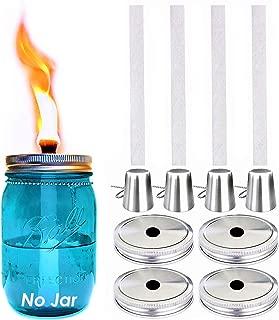 Mason Jar Tabletop Torch Kits,4 Pack Longlife Fiberglass Wicks,Stainless Steel Mason Jar Lids Caps Included,Outdoor Deck Oil Lamp Torch