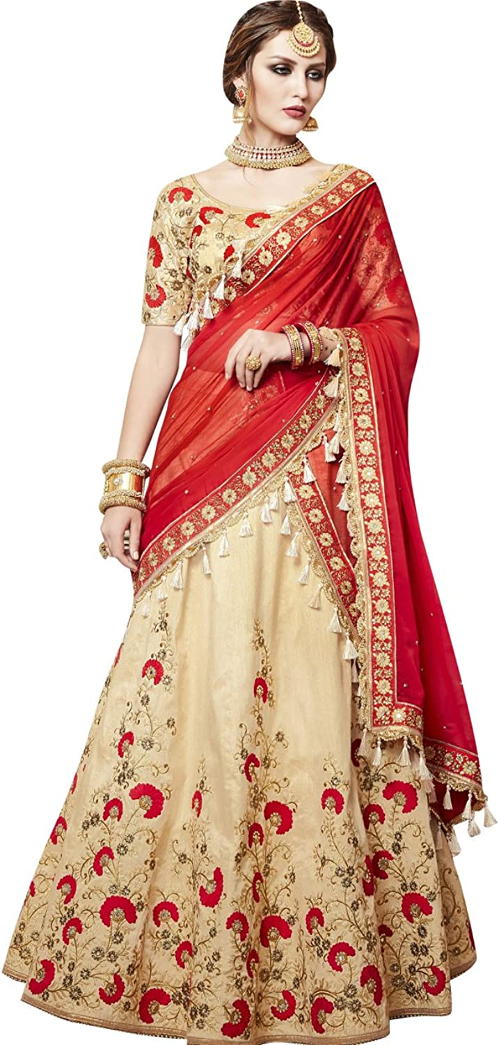 Exclusive Indian Ethnicwear Red and Beige Coloured Lehenga Saree
