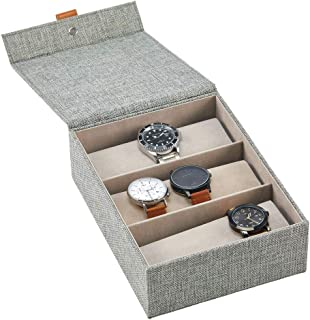 mDesign Fabric 3-Compartment Jewelry Storage Box - Divided Organizer Tray for Storage on Dresser, Vanity, Countertop - Hol...