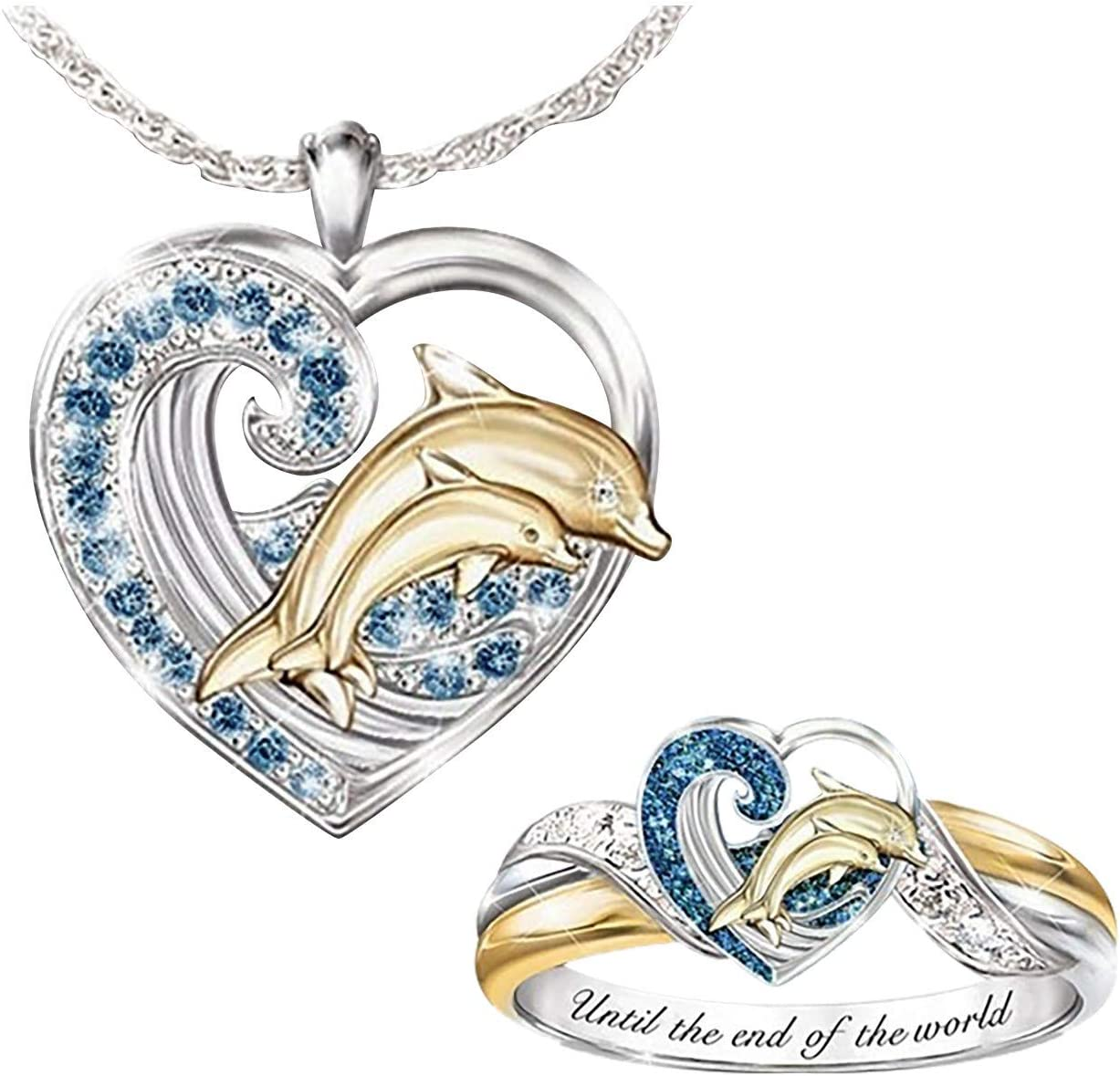TUU Jewelry Set,Women Creative Couple Love Dolphin Diamond Necklace Ring Set, Gift for Mom, Baby, Lovers, Valentine's Day, Lucky Vintage Dainty Wedding, Ring Size for 5-10