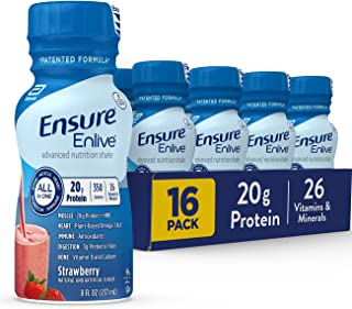 Ensure Enlive Meal Replacement Shake, 20g Protein, 350 Calories, Advanced Nutrition Protein Shake, Strawberry, 8 Fl Oz (Pa...