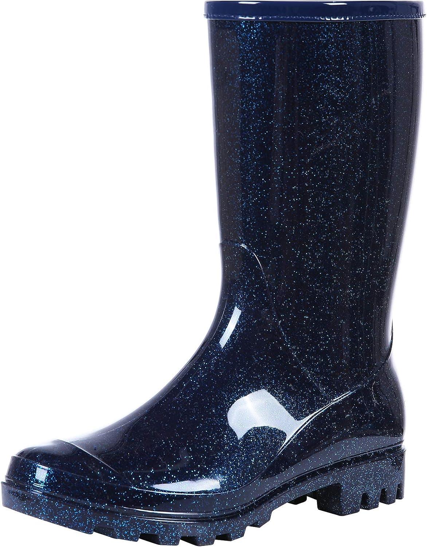 Women's Mid Calf Rain Boots Waterproof Garden Shoes