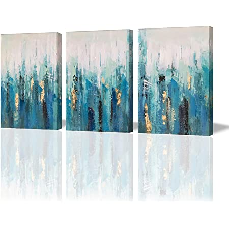Amazon Com 3hdeko Large Abstract Cityscape Canvas Prints Wall Art 40x20 Inch Hand Painted Embellished Modern Colorful Street View Painting With Sliver Ps Frame For Bedroom Living Room Home Decor Everything Else